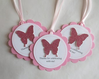 Butterfly Party Favor Tags, Pink 8