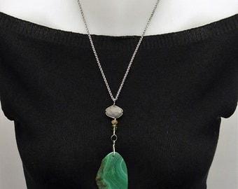 Labradorite and tourmaline, peridot Sterling Silver Pendant