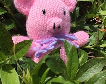 Piggy, Handmade knitted toy pig, children's doll, soft toy