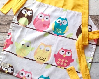 Kid's Apron - yellow with Owls