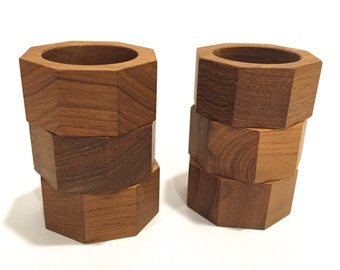 Vintage Teak Wooden Napkin Rings | Hexagonal Shape | Set of Six