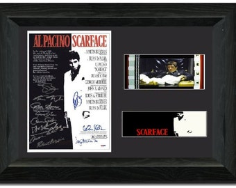scarface 35 mm framed film cell display framed signed al pacino tony montana michelle pfeiffer