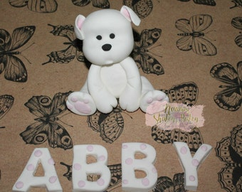 1x Cute Puppy Dog with Name 7-9cm Fondant Edible Cake Topper