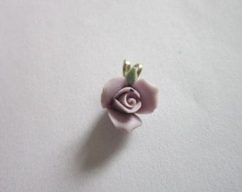 Vintage Petite Purple Rose & Gold Necklace Pendant