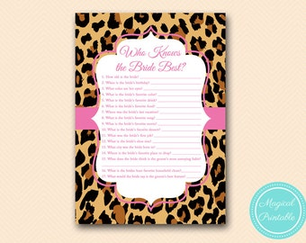 Who knows the Bride Best Game Printable,Hot pink Leopard Bridal Shower Game Printable, Bachelorette, Leopard Bridal Shower BS431