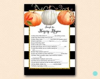 Modern Pumpkin Finish the nursery rhyme game, Nursery rhyme quiz, Pumpkin Baby Shower Game Printable, Fall, Autumn Baby Shower Game TLC463