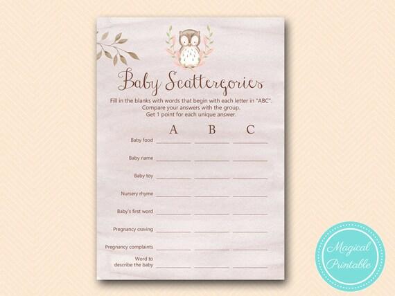 scattergories baby shower scattergories game printable owl baby
