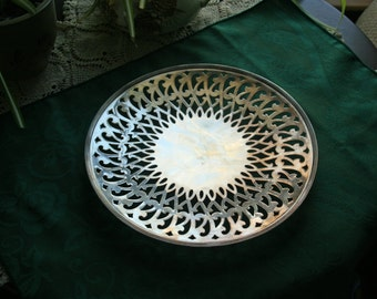 Vintage Forbes Silver Company Pierced Footed Cake Plate / Serving Plate / Tray Sheffield Reproduction #58 Made in USA