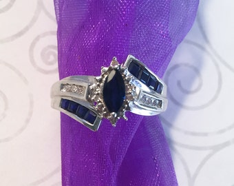 Silver ring, Blue Sapphire gemstone, size 6.5, size 16.9 mm