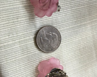 Pink lucite flower clip earring