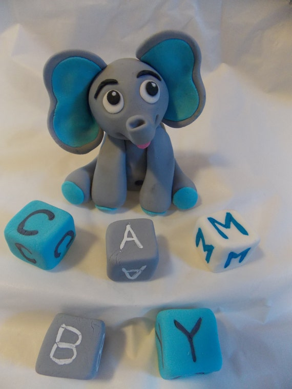 Elephant Cake Topper with Letter Blocks