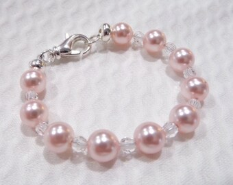Swarovski Pearl & Crystal Bracelet -  Rose/Clear 6mm