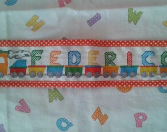 Kindergarden or kindergarten hand embroidered