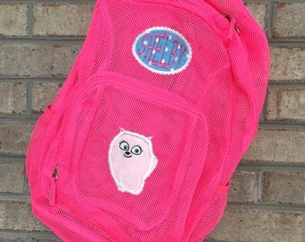 Monogrammed Backpack |Secret Life Of Pets | Pets Backpack | Dog Backpack | Mesh Backpack | Monogrammed Mesh Backpack | Gidget  Bookbag