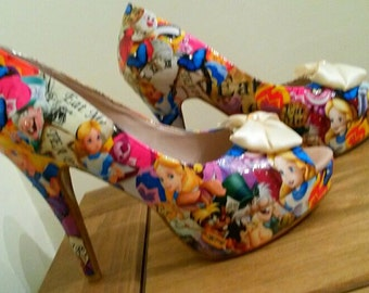 Alice in wonderland with bow customised shoes