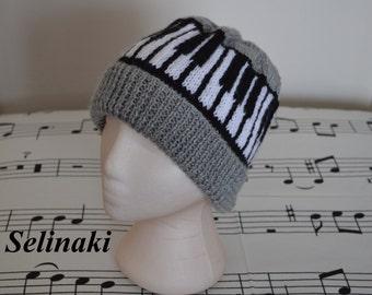 Piano Keyboard Knit Music Grey Hat Beanie