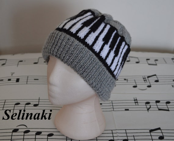 Knitting Pattern Piano Keyboard : Piano Keyboard Knit Music Grey Hat Beanie