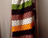 Vintage Afghan Blanket, Vintage Crochet Blanket, Vintage Afghan Throw Blanket, Earth Toned Vintage Afghan, Crochet Throw Blanket