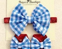 Dorothy inspired headband and barefoot sandal set; Dorothy bow; bow barefoot sandals; Wizard of Oz baby; baby, toddler, girl