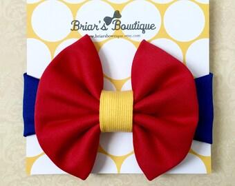 Snow White headwrap; Snow White bow headband; Snow White baby costume; Disney princess birthday party; Messy bow, baby, toddler, or girl