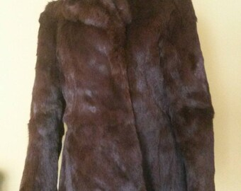 Dark Brown, Super Soft and Thick, Real Rabbit Coney Fur Coat Jacket; UK size 8 10 12