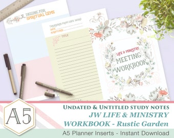 CLM Meeting Workbook companion notes - Rustic Garden A5 - Printable inserts - Undated Untitled