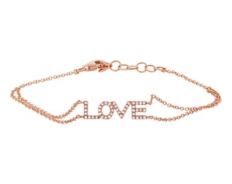 "Unique Love Charm Bracelet, 0.12ct 14k Rose Gold Diamond ""Love"" Bracelet"