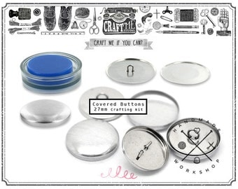 12SETS 27MM 1 1/8 inch Self covered buttons with Assembly tool fabric cover button kit
