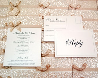 Embossed, pebble paper, gold/champagne & ivory, flat invitation with satin ribbon and bow  - PERSONALISED SAMPLE
