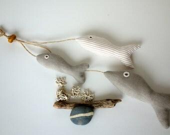 3 Little Fishes on a Rope, Coastal Fish Hanging Decoration, Soft Fishes, Fish plushies, Fish Decor, Handmade