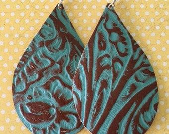 Leather Earrings Teardrop Embossed Brown & Turquoise