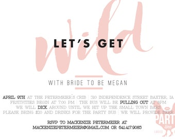 Let's Get Wild Bachelorette Party Digital Invite, Bride to Be, Party Invite, Underwear Game Card, Printables