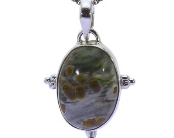 Ocean Jasper Pendant, 925 Sterling Silver, Unique only 1 piece available! color green, weight 3g, #37200