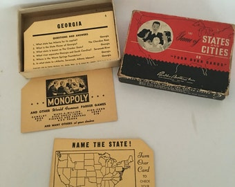 The Game of States and Cities 1948 Parker Brothers, Vintage Educational Game
