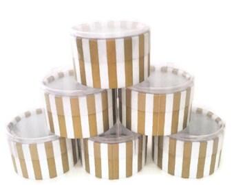 Gold & White Stripe Round Candy/Favor Box