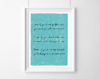 Poster-If you do not go after what  you want, you will never have it,Quote,Inspirational,Gift Idea,Typography Poster,life rules,rules,