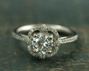 14K White Gold Flower Engagement Ring--Forever Brilliant Moissanite Engagement--Diamond Accent--Flower Setting--Sparkling Engagement Ring