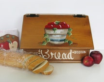 Wood Bread Box and Napkin Holder Apple Kitchen Decor Hand Painted Bread Box Bread Keeper