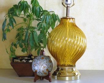 Swirled Amber Glass Table Lamp