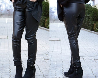 Leather Leggings / Leather Pants / Black Pants / Womens Leggings / Black Leggings / Womens Pants / Womens Trousers / Fashion Pants / BDSM