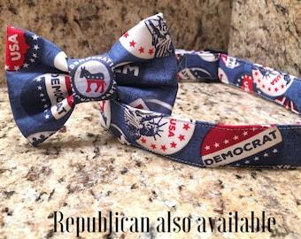 Dog collar, Democrat dog collar, elections dog collar, democrat collar bow tie, dog collar bow tie, patriotic dog collar, general elections