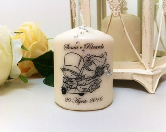 Candles personalized favors for wedding.