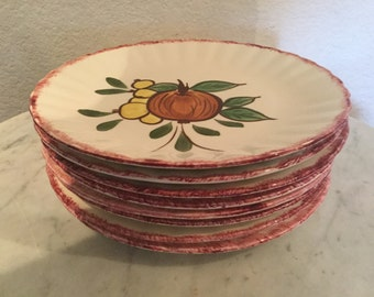 "Vintage Blue Ridge ""County Fair"" Set Of Eight (8) Salad/Dessert Plates With Diverse Fruits Motif. Handpainted. From 1940. Made In U. S. A."