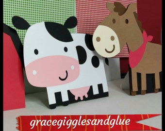 6 (11.5 inch) Self Standing Easel Barnyard Animal Centerpieces!!, Farm Animal Table Stands