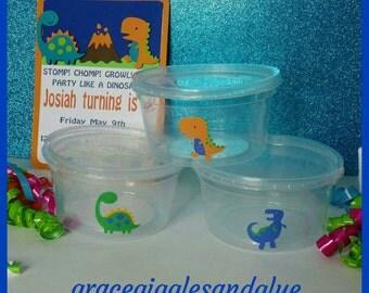 12 Dinosaur themed 12oz Snack Cups w/Lids, Dino Favors w/Lids, Popcorn Snack Cups