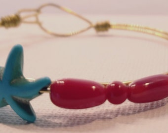 Star Fish Shaped Turquoise with Red Coral beads Wire Wrapped Cuff