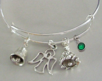 Bell / Angel / Christmas Tree - CHRISTMAS Adjustable Bangle / W/ Birthstone Personalize Your  Bracelet  Gift For Her Under 20 USA  W1