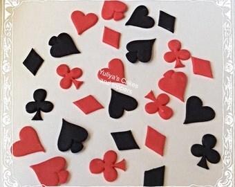 25 Edible playing cards/casino suits cake/cupcakes topper,casino,vegas,sugarpaste,birthday,Las vegas,poker,shipping from Ireland