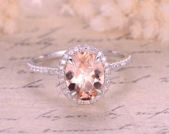 Valentine's Present 7x9m Oval Cut Stone,Peach Morganite Ring,14K White Gold Engagement Wedding Ring,Diamond Halo,6x8mm Morganite available