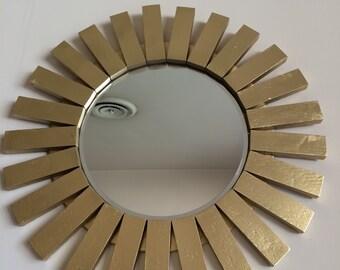 Handmade Sunburst Wall Mirror Distressed Wood Frame Antique Looking Gold